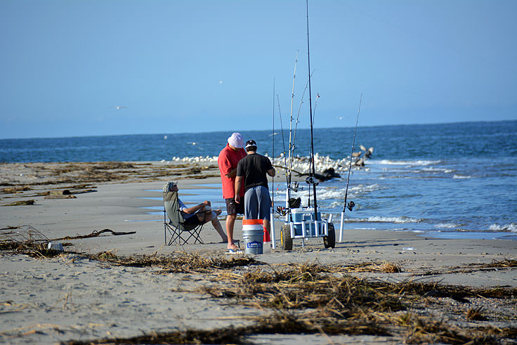 Surf fishing on Bald Head Island, NC