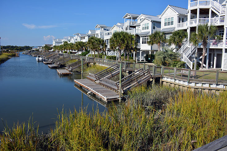 Many homes have docks on canals in Ocean Isle Beach