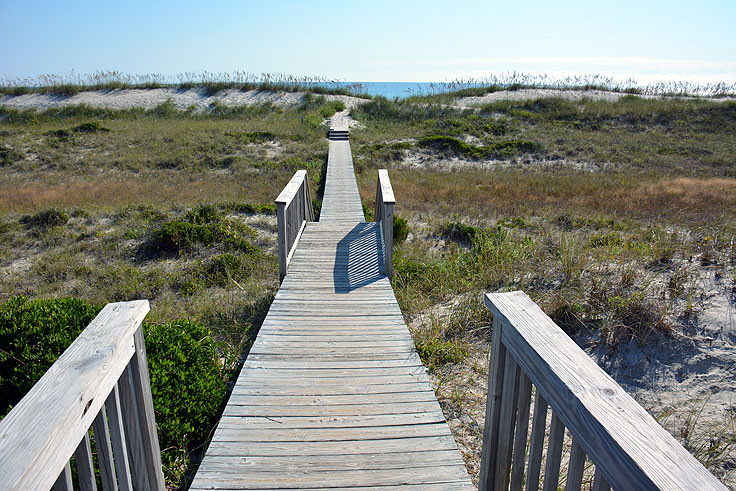 Beach access over dunes near Shoal's Watch, Bald Head Island NC