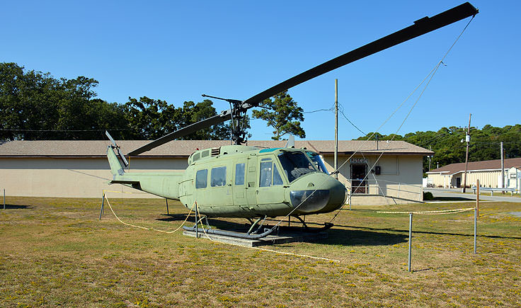 A decommissioned UH-1 helicopter at the Fort Fisher Air Force Rec Area
