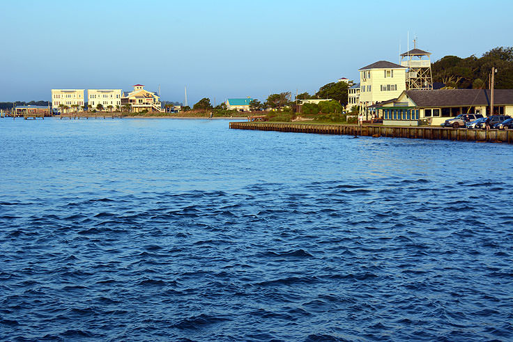 A view of the Cape Fear River from the Historic Riverwalk in Southport, NC
