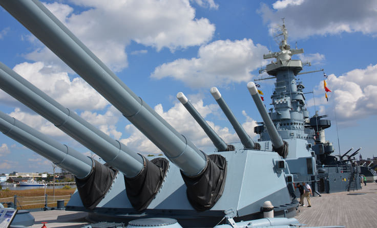 Walking the deck of the USS North Carolina in Wilmington, NC