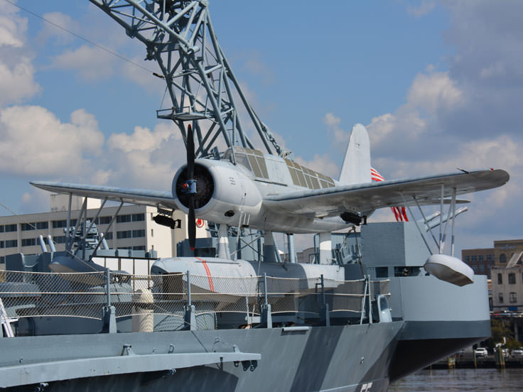 A Navy seaplane aboard the USS North Carolina in Wilmington, NC