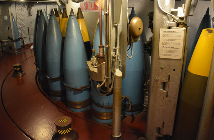 Ammunition on the USS North Carolina in Wilmington, NC
